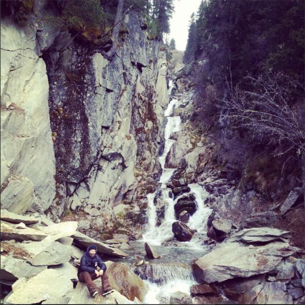 Stubai snowboarding waterfall
